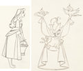 Animation Art:Production Drawing, Sleeping Beauty Briar Rose and Scarecrow Prince AnimationDrawings (Walt Disney, 1959).... (Total: 2 Items)