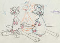Animation Art:Production Drawing, Puss Cafe Milton, Richard, and Pluto Animation Drawing (WaltDisney, 1950)....