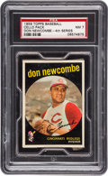 Baseball Cards:Unopened Packs/Display Boxes, 1959 Topps Baseball 4th Series Cello Pack GAI NM 7 With DonNewcombe Top Card. ...