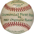 Hockey Collectibles:Others, 1980 Herb Brooks Opening Day Yankee Stadium First Pitch Multi Signed Baseball. ...