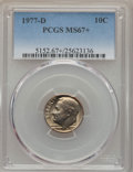 Roosevelt Dimes, 1977-D 10C MS67+ PCGS. PCGS Population (16/1 and 1/0+). NGC Census: (7/0 and 0/0+). Mintage: 376,607,232. ...