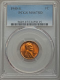 Lincoln Cents, 1940-S 1C MS67 Red PCGS. PCGS Population: (281/2). NGC Census: (746/0). CDN: $125 Whsle. Bid for problem-free NGC/PCGS MS67...