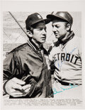 Baseball Collectibles:Photos, 1971 Al Kaline & Billy Martin Signed News Photograph....