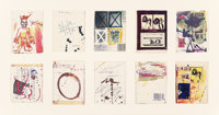 Jean-Michel Basquiat (1960-1988) (Anti) Product Postcards (set of 10), circa 1980 Postcard, ink, and