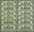 Canadian Currency: , BC-21d $1 1937 Twelve Examples. ... (Total: 12 notes)