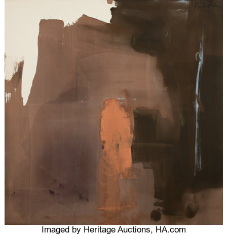 Helen Frankenthaler (1928-2011) Tantric, 1977 Acrylic on canvas 69-1/4 x 67-1/2 inches (175.9 x 171.5 cm) Signed upp...