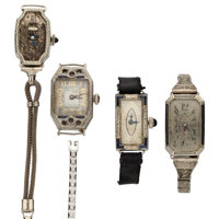 Four 18k Gold Wristwatches For Parts Or Repair