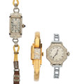 Timepieces:Wristwatch, Three 18k Gold Vintage Wristwatches. ... (Total: 3 Items)