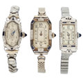 Timepieces:Wristwatch, Three Vintage Lady's 18k Gold & Diamond Wristwatches. ...(Total: 3 Items)