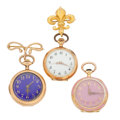 Timepieces:Pendant , Three 14k Gold Swiss Pendants. ... (Total: 3 Items)