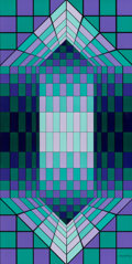 Paintings, Victor Vasarely (1906-1997). Neff, 1980. Oil on panel. 23-1/2 x 11-3/4 inches (59.7 x 29.8 cm). Signed lower right: Va...