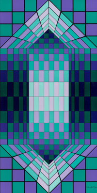 Victor Vasarely (1906-1997) Neff, 1980 Oil on panel 23-1/2 x 11-3/4 inches (59.7 x 29.8 cm) Si