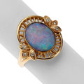 Estate Jewelry:Rings, Opal Doublet, Diamond, Gold Ring. ...