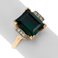 Synthetic Spinel, Diamond, Platinum, Gold Ring