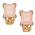 Estate Jewelry:Earrings, Rose Quartz, Diamond, Gold Earrings. ...