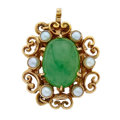 Estate Jewelry:Other , Jadeite Jade, Seed Pearl, Gold Clasp. ...