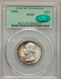Washington Quarters, 1942 25C MS67 PCGS. CAC. PCGS Population (46/0). NGC Census:(85/0). Mintage: 102,117,120. Numismedia Wsl. Price for proble...
