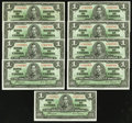 Canadian Currency: , BC-21d $1 1937 Nine Examples. ... (Total: 9 notes)