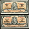 Canadian Currency: , BC-22c $2 1937 Two Examples. ... (Total: 2 notes)