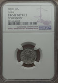 Patterns: , 1868 10C Ten Cents, Judd-646, Pollock-718, High R.7, -- Corroded -- NGC Details. Proof Details. PCGS Pop...