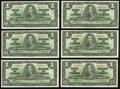 Canadian Currency: , BC-21d $1 1937 Six Examples. ... (Total: 6 notes)