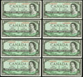 Canadian Currency: , BC-37aA $1 1954 Eight Examples. ... (Total: 8 notes)