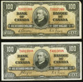Canadian Currency: , BC-27b $100 1937. BC-27c $100 1937. ... (Total: 2 notes)
