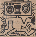 Paintings, Keith Haring (1958-1990). USA-1, 1984. Oil on burlap. 24-1/2 x 21-1/2 inches (62.2 x 54.6 cm). Signed, titled, and dated...