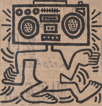 Keith Haring (1958-1990) USA-1, 1984 Oil on burlap 24-1/2 x 21-1/2 inches (62.2 x 54.6 cm) Sig