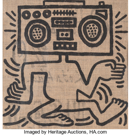 Keith Haring (1958-1990)USA-1, 1984Oil on burlap24-1/2 x 21-1/2 inches (62.2 x 54.6 cm)Signed, titled, and dated...