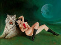 Mainstream Illustration, Enrich Torres (Spanish, b. 1939). Vampirella and White BengalTiger. Oil on canvas. 21.25 x 41.25 in.. Signed lower righ...