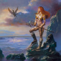 Mainstream Illustration, Boris Vallejo (American, b. 1941). Journey's End, calendarillustration, 2001. Oil on board. 17.5 x 17.25 in. (sight).S... (Total: 2 Items)