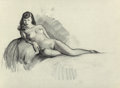 Pin-up and Glamour Art, Gil Elvgren (American, 1914-1980). Reclining Nude,preliminary. Charcoal on vellum. 17.75 x 24 in. (sheet). Notsigned. ...