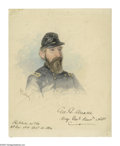 Autographs:Artists, Original Watercolor Study of Meade by Ole Peter Hansen Balling,painted in the field and signed at the time by Meade. G...