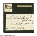 "Autographs:Military Figures, Jefferson Davis Signature. Davis signs this 4.5"" x 4.3"" card as, ""Jefferson Davis."" The signature was originally on ..."