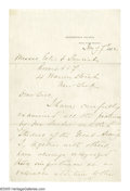 "Autographs:Military Figures, Winfield Scott Hancock Letter on Civil War Artist Edwin Forbes. Letter Signed, 2 pages (1st & 4th integral leaves), 5.5"" x ..."