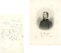 """Autographs:Military Figures, Winfield Scott Hancock Sends His Photo - to the Secretary of War! Autograph Letter Signed, 1 page, 5"""" by 8"""", Baltimore, Nove..."""