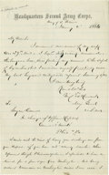 Autographs:Military Figures, Winfield Scott Hancock War-Date Autograph Letter About His Wound Sustained at Gettysburg. Excellent Autograph Letter Signed ...