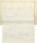 Autographs:Military Figures, Joseph B. Kershaw (1822-1894), Confederate Major General in theCivil War, biographical content Autograph Letter Signed twic...