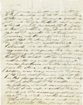 "Autographs:Military Figures, General Nathaniel Lyon Autograph Letter Signed ""N. Lyon."" One page (last page of a longer letter; the rest is missing), ..."