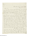 "Autographs:Military Figures, Thomas E.G. Ransom ALS ""T.E.G. Ransom, Brig. Gen. Vols."" Three pages, 7.75"" x 9.75"", Head Quarters, Post of Natchez,..."