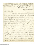 Autographs:Military Figures, Samuel Allen Rice: Rare War-Date Letter of the Union General Who Died of a Wounded Ankle. Autograph Letter Signed, 2 pages, ...