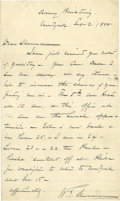 """Autographs:Military Figures, William Tecumseh Sherman: A Family Letter re Life in New York Autograph Letter Signed (""""W.T. Sherman""""), 1 page, 5.5"""" by 9"""", ..."""