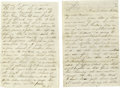 "Autographs:U.S. Presidents, Rare 1861 Letter From Florida. Autograph Letter Signed, ""ThosLe. B"", six pages, 5.25"" x 8.0"", Indian River, Florida, Ap..."