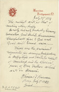 "Autographs:Celebrities, Phineas T. Barnum Extraordinary Manuscript: ""The Noblest art, is That of Making Others Happy"" Autograph Fair Copy Signe..."