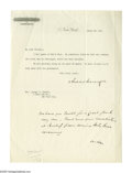 "Autographs:Celebrities, Andrew Carnegie Typed Letter Signed ""Andrew Carnegie."" Onepage, 8"" x 10.75"", personal letterhead, New York, March 2..."