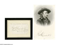 """Autographs:Military Figures, George Custer Signature. """"G. A. Custer"""". A Signature on white paper which has been laid down on a 4.75"""" x 3.75"""" card; a..."""