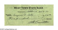 "Autographs:Statesmen, Eugene V. Debs Pair of Checks Signed ""Eugene V. Debs."" Thefirst check measures 6.25"" x 2.75"", West Town State Bank,...(Total: 2 items)"