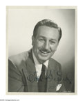 "Autographs:Artists, Walt Disney Signed Photo. Black and white, 8"" x 10"", depicting Disney in a suit and tie. Also included with the photograph i... (Total: 2 items)"