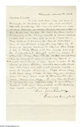 "Autographs:Celebrities, Frederick Douglass (1818-1895) Escaped slave and prominentabolitionist, fine content Autograph Letter Signed ""FrederickD..."